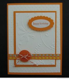 Here is another card using the Cuttlebug. It's a very simple card using plain cardstock, a small piece of ribbon, and a button. I used two different embossing folders for the texture on this card.