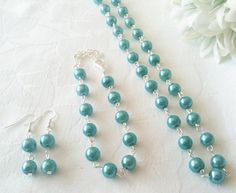 Teal Bridesmaid Jewelry Set Teal Pearl Jewelry by InfinityByClaire, £12.00