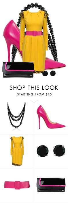 """3 Color Change Series #12: Black, Yellow & Hot Pink"" by twinkle-misfit ❤ liked on Polyvore featuring Bling Jewelry, Jimmy Choo, Lattori, BillyTheTree and Rupert Sanderson"