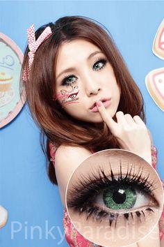 G&G GBT Green - Circle Lenses & Colored Contact | PinkyParadise Contact Lenses Tips, Black Contact Lenses, Coloured Contact Lenses, Green Colored Contacts, Green Contacts Lenses, Color Contacts, Eye Contacts, Beauty Tutorials, Beauty Hacks