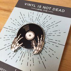 Vinyl is not Dead Pin- Cloisonné Enamel Pin by AlisonRose on Etsy https://www.etsy.com/uk/listing/256452625/vinyl-is-not-dead-pin-cloisonne-enamel