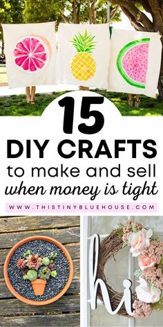 Is money tight? Here are 15 DIY Summer crafts you can make and sell for profit. #craftstosell #summercraftstosell #profitablecraftstosell #diycraftstosell