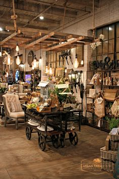Urban Farmhouse Designs 28,000 s/f showroom it packed full of inspiration. Creative ideas are around each corner. The Ladder Rack above the table creates space and visual impact.