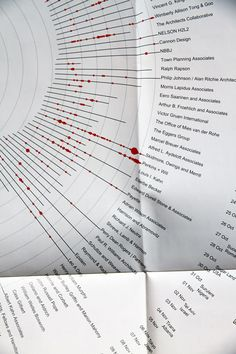 Dates of the featured export projects are grouped by office and plotted along timelines. Photo: Designboom.
