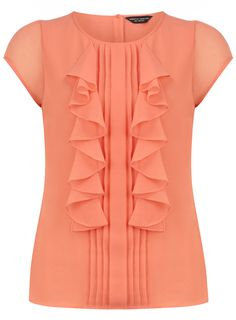 Coral short sleeve frill top - Going Out Tops - Tops - Clothing - Dorothy Perkins United States