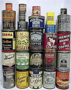 antique coffee tins~awesome collection (available for purchase from RubyLane.com)