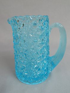 Lovely EAPG Aqua Turquoise Blue Glass Pitcher by SlyfieldandSime