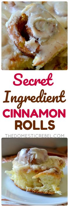 Everyone will go crazy for these SECRET INGREDIENT Cinnamon Rolls! The magic ingredient makes the texture of these rolls unbelievably fluffy, tender and soft. A total crowd-pleaser! Icing Ingredients, Rolls Recipe, Recipe Box, Recipe Ideas, Cinnamon Rolls, Cinnamon Bread, Bread Rolls, Breakfast Recipes, Breakfast Ideas