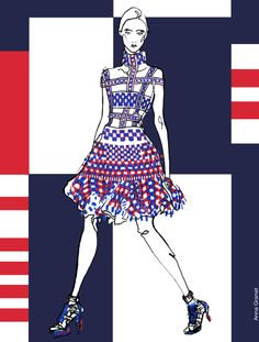Anna Granat Fashion Illustration Alexander McQueen Spring 2014 #Fashion #Illustration #McQueen