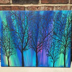 Northern Lights Acrylic Painting Aurora Borealis Art Wall Hanging - Eva Jankova - Re-Wilding Hanging Paintings, Hanging Wall Art, Hanging Canvas, Hanging Lights, Diy Canvas Art, Wall Canvas, Canvas Ideas, Canvas Crafts, Galaxy Painting Acrylic