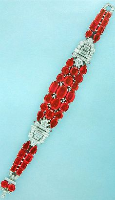 Cartier New York Art Deco Diamond Ruby Bracelet by Clive Kandel