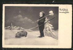 tolle AK Kleiner Schornsteinfeger mit Leiter und Schwein in Sammeln & Seltenes, Ansichtskarten, Motive | eBay