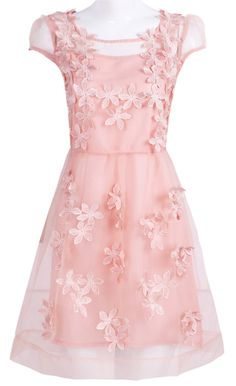 Pink Short Sheer Sleeve 3D Flowers A-line Dress