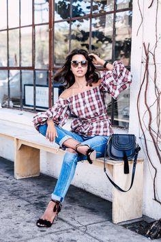Casual outfit idea - plaid off the shoulder top & boyfriend jeans