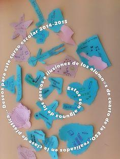 En #plástica de cuarto de la ESO @RealejosNazaret creamos y recreamos a través de las #formas #rasgadas nuestros deseos e ilusiones para este curso escolar 2014-2015. Nuestras creaciones quedaron muy...