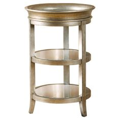 Dani's Room Showcasing a cylindrical silhouette with a lift-off tray top and 2 mirrored shelves, this wood and glass end table offers contemporary style to your decor.  ...