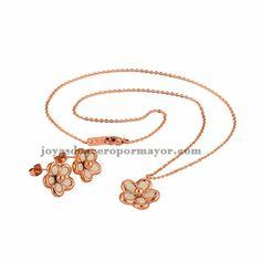 juego de joyas de collar y aretes de flor de oro rosado en acero inoxidable para mujer-SSNEG81890
