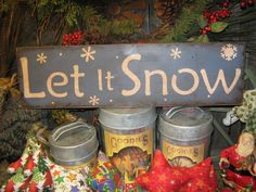 """Primitive Large Holiday Wooden Hand Painted Christmas Sign -  """" LET IT SNOW  """" Country Folkart Housewares"""