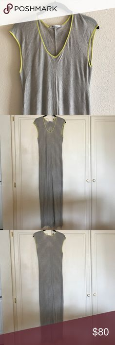 NWT Alexander Wang - gray maxi dress This is a sheer light gray maxi dress by Alexander Wang. Neon green/ yellow accents around collar. 100% rayon. Size small. Alexander Wang Dresses Maxi