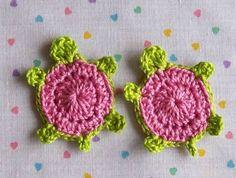 Crochet Turtle AppliquesRose Pink2pcs by LittleMargie