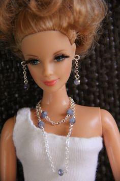 Blue Beaded Double Chain Doll Jewelry Set Barbie by AprilJewels, $6.00