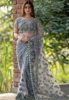 Blouse Online, Sarees Online, Grey Saree, Net Blouses, Back Neck Designs, Saree Look, Beautiful Saree, Indian Sarees, Sleeve Styles