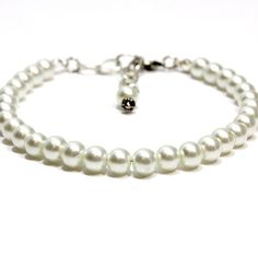 Large White Pearl Dog Cat Collar.  Snow White Glass by FidoandFifi