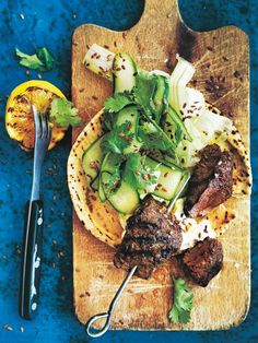 Create restaurant-grade meals from home, like these ginger and garam masala infused beef skewers, sitting comfortably atop a bed of celery slaw and flatbread. Find this and more easy meals from our latest issue of Skewer Recipes, Sauce Recipes, Beef Recipes, Fish Recipes, Lunch Recipes, Dessert Recipes, Cooking Recipes, Piri Piri Sauce Recipe, Chefs