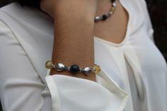Citrine and Brazilian Blue Apatite Necklace and Stretch Bracelet Jewelry Set November Birthstone Lexi & Lori USA by LexiAndLori on Etsy