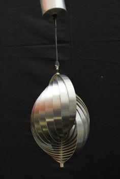Henri Mathieu; Brushed Metal Ceiling Light, 1960s.