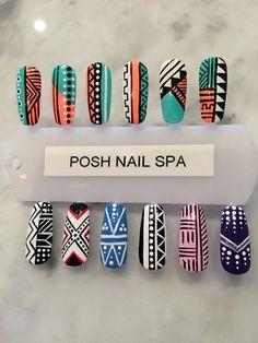 nails designs, posh nail spa Aztec Nail Designs, Aztec Nail Art, Abstract Nail Art, Tribal Nails, Geometric Nail, Nail Art Designs, Posh Nail Spa, Nail Art Modele, Indian Nails
