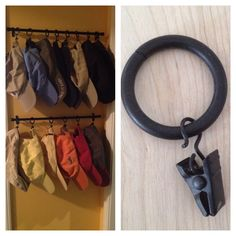 Baseball cap storage. Curtain rods and curtain rings with clips.