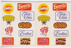 Gibson Vintage Sticker Lot of 2 Sheets Teacher School Rewards Sayings New