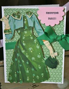 "Green ""Shopping Party"" Dress Card"