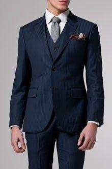 Premium Indigo Pinstripe Three-Piece Suit | Indochino