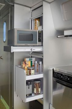 Kitchens are essential part of any home, small kitchen are usually more efficient work spaces than large ones. Takes smart planning to create a kitchen storage organization. We've put together some small kitchen design and decorating ideas that tackle t Airstream Interior, Trailer Interior, Camping Con Glamour, Tiny House Storage, Camper Storage, Trailer Storage, Caravan Storage Ideas Space Saving, Kombi Home, Airstream Trailers