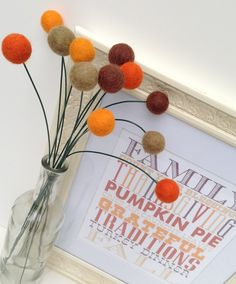 Thanksgiving/Fall Decoration - Billy Ball Flowers, set of 12, 18 inches, felt Balls on Etsy, $24.00