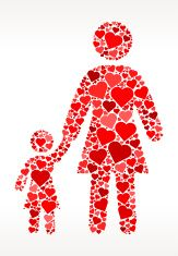 Mother and Daughter Red Hearts Love Pattern vector art illustration