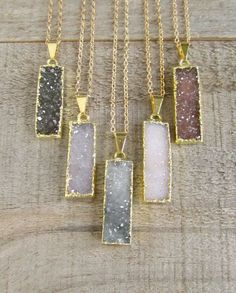 Druzy Bar Necklace Drusy Necklace Gemstone by julianneblumlo