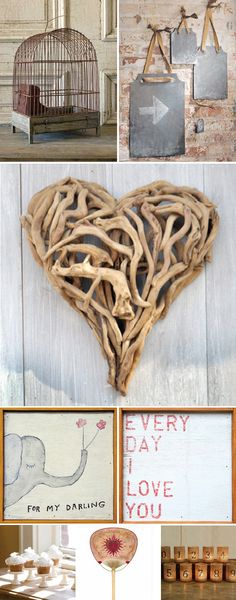 The heart made out of branches it fantastic! One thing to be aware of is that you can't use nails to have anything up. Tying ribbon around the support columns/pillars will provide a way to still hang things