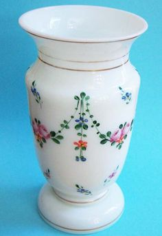 Floral Hand Painted White Bristol Glass