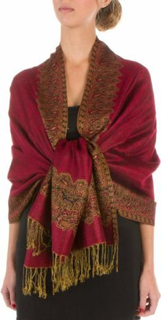 "Sakkas 70"" x 28"" Border Pattern Layered Woven Pashmina Shawl Scarf Wrap Stole"