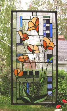Six California Poppies on Green Blue Geometric Background Stained Glass Window  Panel. $285.00, via Etsy.