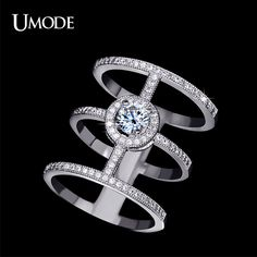 UMODE Brand Fashion Jewelry Wholesale Bulk Best AAA CZ Long Finger Ring Bohemia Vintage Rings For Women Jewelry Anel AUR0136
