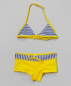 Yellow & Blue Stripe Bow Bikini - Girls #zulily #zulilyfinds