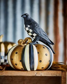 Courtly Check Crow on Pumpkin  by MacKenzie-Childs at Horchow.