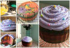 Giant cupcake cake with rainbow cake inside.