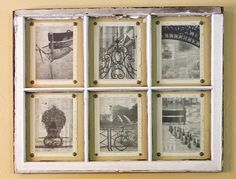 Photos printed on dictionary pages and hung with upholstery tacks behind an old window frame. See the tutorial. #DIY