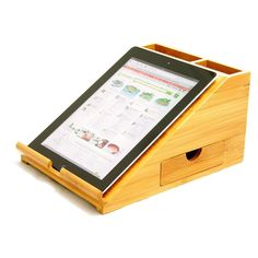 Desktop iPad Station Holder, Desk Organiser Display. Made of Eco-friendly Natural Sustainable Bamboo Golden by Woodquail: Amazon.co.uk: Office Products