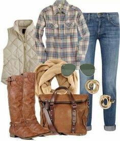 Camisa cuadros + chaleco acolchado + botas
